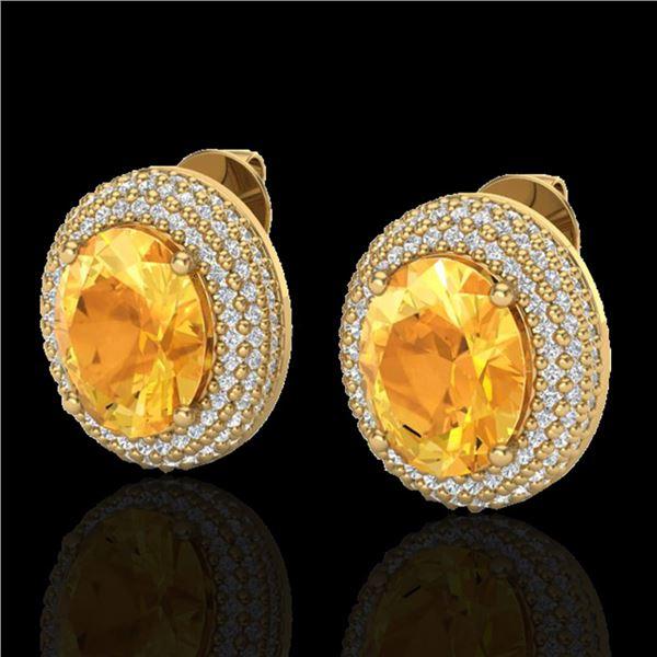 8 ctw Citrine & Micro Pave VS/SI Diamond Earrings 18k Yellow Gold - REF-151H6R
