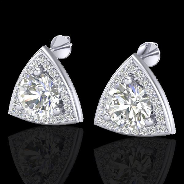 3 ctw Micro Pave VS/SI Diamond Certified Stud Earrings 18k White Gold - REF-870A2N