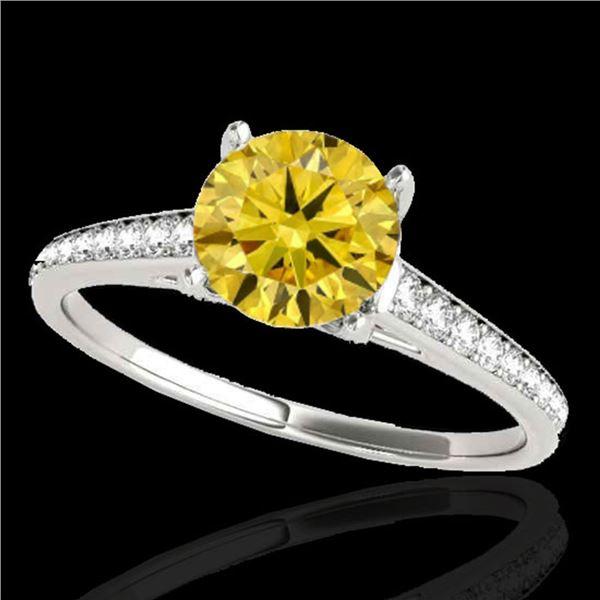 2 ctw Certified SI/I Fancy Intense Yellow Diamond Ring 10k White Gold - REF-320G5W