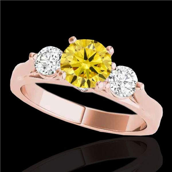 1.75 ctw SI/I Fancy Intense Yellow Diamond 3 Stone Ring 10k Rose Gold - REF-245W5H