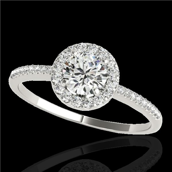 1.2 ctw Certified Diamond Solitaire Halo Ring 10k White Gold - REF-190M9G