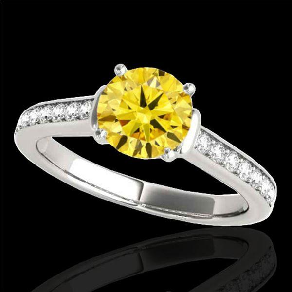 1.5 ctw Certified SI/I Fancy Intense Yellow Diamond Ring 10k White Gold - REF-204Y5X