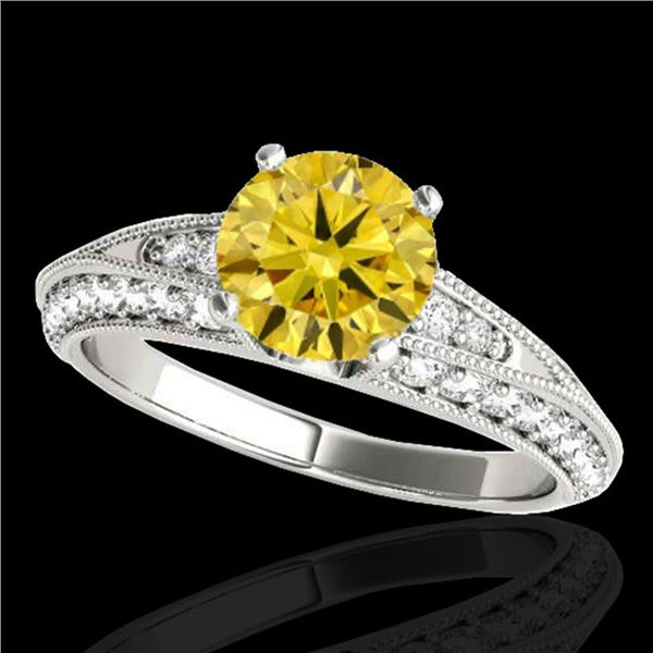 1.58 ctw Certified SI Intense Yellow Diamond Antique Ring 10k White Gold - REF-211X4A