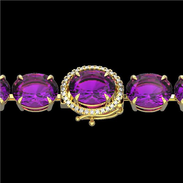 78 ctw Amethyst & Micro Pave Diamond Bracelet 14k Yellow Gold - REF-218R2K