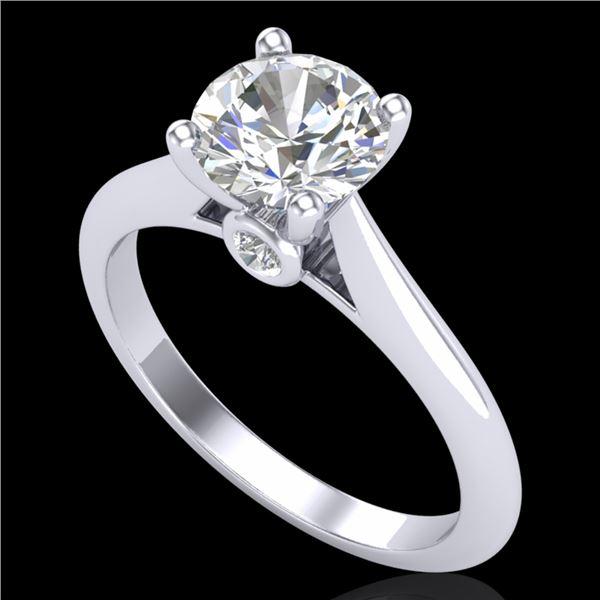 1.36 ctw VS/SI Diamond Solitaire Art Deco Ring 18k White Gold - REF-331M4G