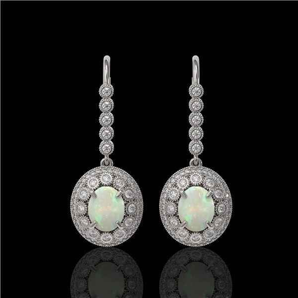 7.81 ctw Certified Opal & Diamond Victorian Earrings 14K White Gold - REF-256M8G