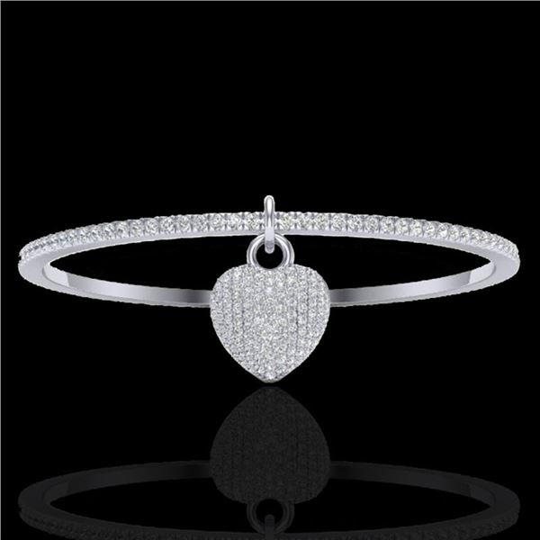 3.50 ctw Micro Pave Diamond Bangle 14k White Gold - REF-259W6H