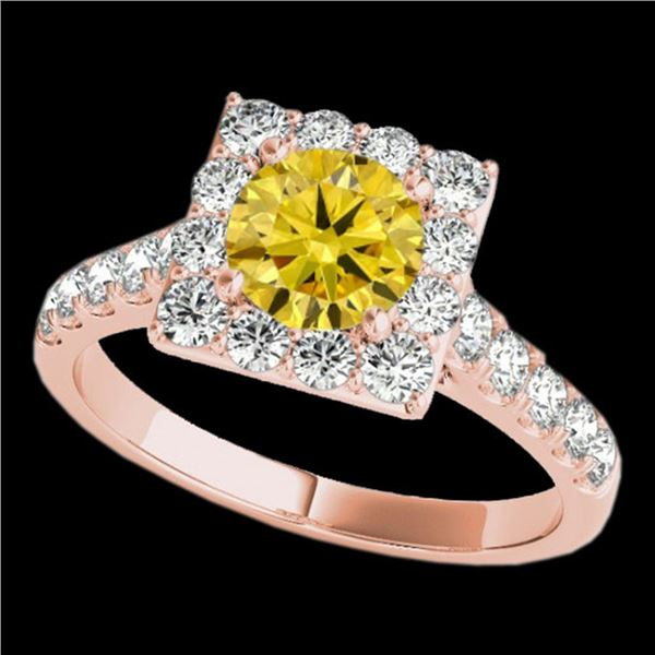 2 ctw Certified SI/I Fancy Intense Yellow Diamond Halo Ring 10k Rose Gold - REF-218F2M