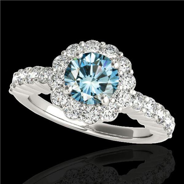 1.75 ctw SI Certified Fancy Blue Diamond Halo Ring 10k White Gold - REF-163G6W