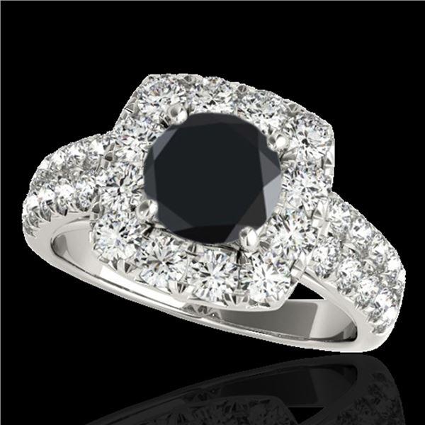 2.25 ctw Certified VS Black Diamond Solitaire Halo Ring 10k White Gold - REF-88M6G