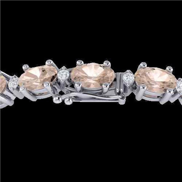 11 ctw Morganite & VS/SI Diamond Eternity Bracelet 10k White Gold - REF-134G5W