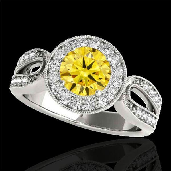 1.4 ctw Certified SI/I Fancy Intense Yellow Diamond Ring 10k White Gold - REF-204K5Y