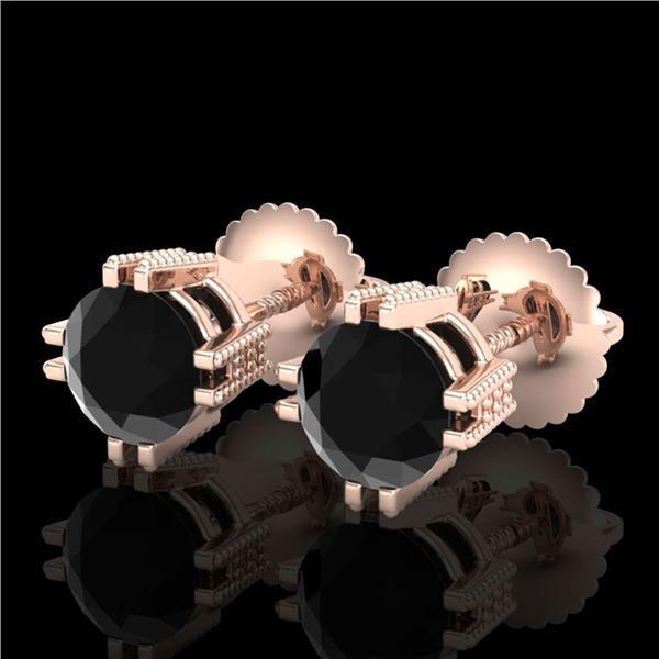 1.07 ctw Fancy Black Diamond Art Deco Stud Earrings 18k Rose Gold - REF-85W5H