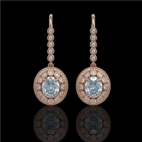 7.65 ctw Aquamarine & Diamond Victorian Earrings 14K Rose Gold - REF-250W5H