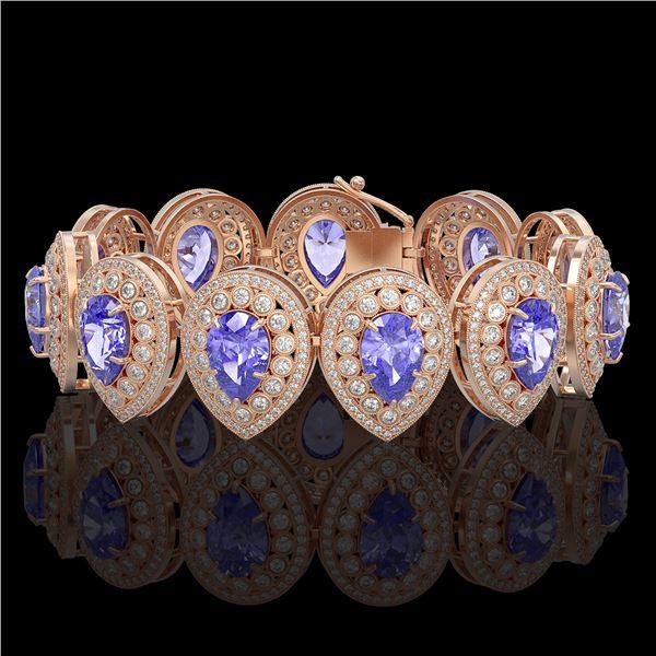 50.04 ctw Tanzanite & Diamond Victorian Bracelet 14K Rose Gold - REF-2636M4G