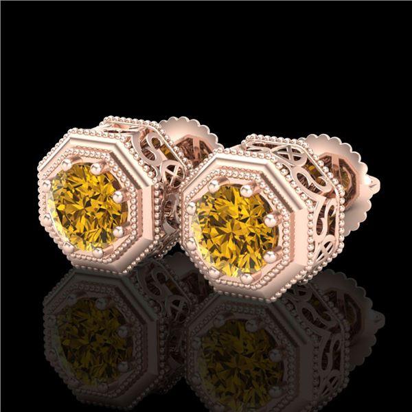 1.07 ctw Intense Fancy Yellow Diamond Art Deco Earrings 18k Rose Gold - REF-172Y8X