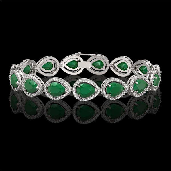 30.06 ctw Emerald & Diamond Micro Pave Halo Bracelet 10k White Gold - REF-393W3H