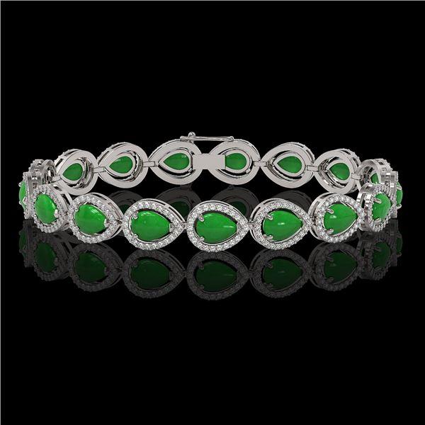 13.19 ctw Jade & Diamond Micro Pave Halo Bracelet 10k White Gold - REF-305M8G