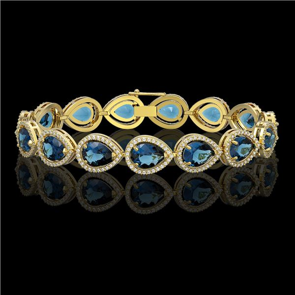 21.06 ctw London Topaz & Diamond Micro Pave Halo Bracelet 10k Yellow Gold - REF-293W3H