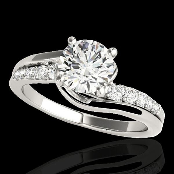 1.31 ctw Certified Diamond Bypass Solitaire Ring 10k White Gold - REF-190R9K