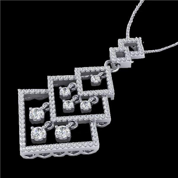 1.50 ctw Micro Pave VS/SI Diamond Necklace Dangling 14k White Gold - REF-168F2M