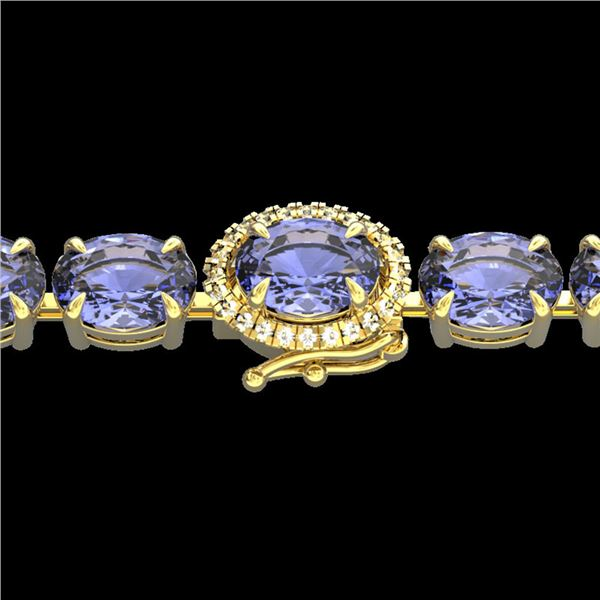 19.25 ctw Tanzanite & Diamond Eternity Micro Bracelet 14k Yellow Gold - REF-234K5Y