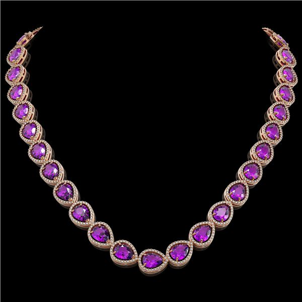 43.2 ctw Amethyst & Diamond Micro Pave Halo Necklace 10k Rose Gold - REF-603H3R