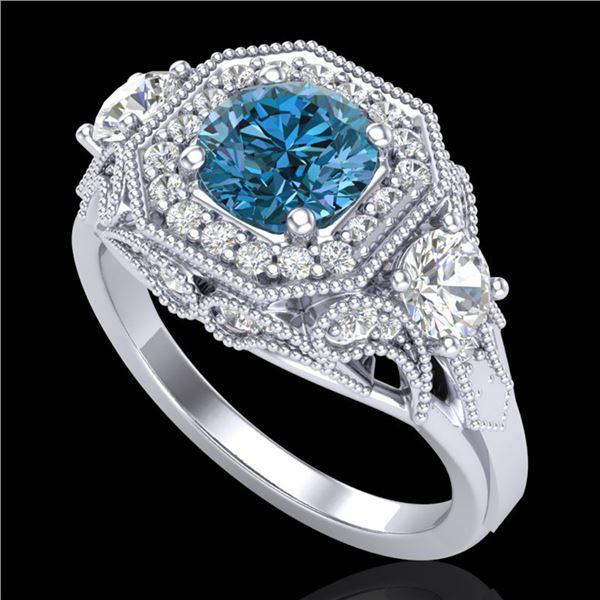 2.11 ctw Intense Blue Diamond Art Deco 3 Stone Ring 18k White Gold - REF-283G6W