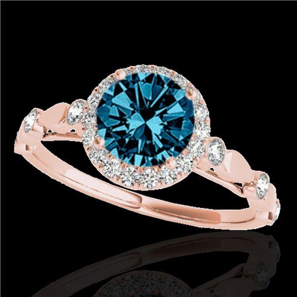 1.25 ctw SI Certified Fancy Blue Diamond Halo Ring 10k Rose Gold - REF-120W2H