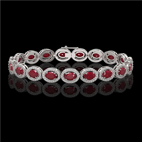 15.2 ctw Ruby & Diamond Micro Pave Halo Bracelet 10k White Gold - REF-300N2F