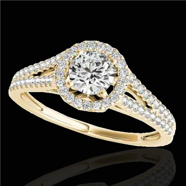 1.3 ctw Certified Diamond Solitaire Halo Ring 10k Yellow Gold - REF-177Y3X