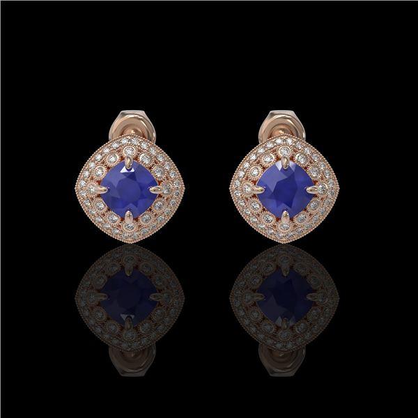 4.99 ctw Certified Sapphire & Diamond Victorian Earrings 14K Rose Gold - REF-117R3K