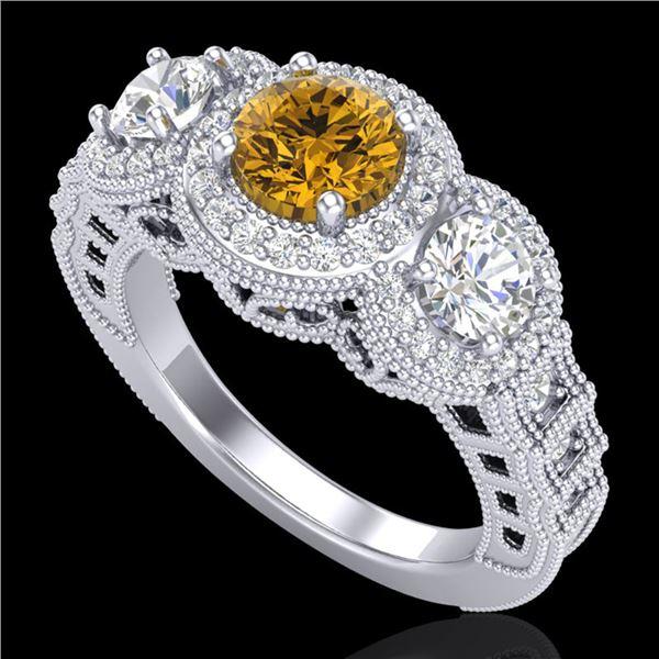 2.16 ctw Intense Fancy Yellow Diamond Art Deco Ring 18k White Gold - REF-270N9F