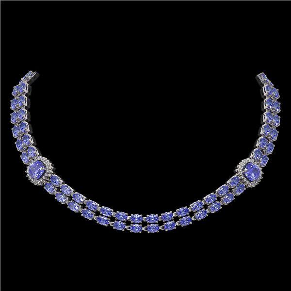 37.96 ctw Tanzanite & Diamond Necklace 14K White Gold - REF-527Y3X
