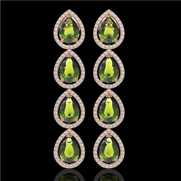 10.48 ctw Tourmaline & Diamond Micro Pave Halo Earrings 10k Rose Gold - REF-195X6A
