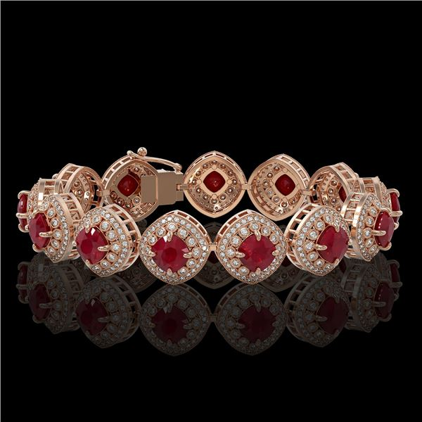 37.35 ctw Certified Ruby & Diamond Victorian Bracelet 14K Rose Gold - REF-928M2G