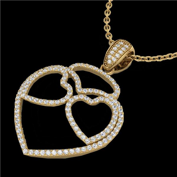 1.20 ctw Micro Pave VS/SI Diamond Heart Necklace 14k Yellow Gold - REF-110K9Y