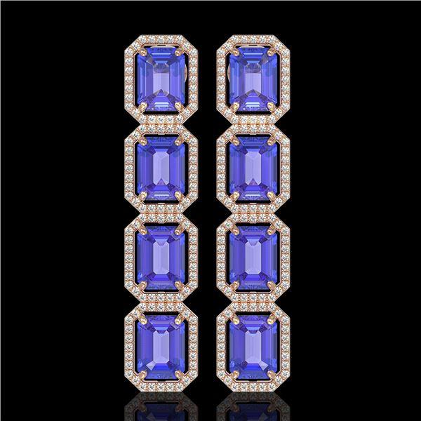 19.39 ctw Tanzanite & Diamond Micro Pave Halo Earrings 10k Rose Gold - REF-418F5M