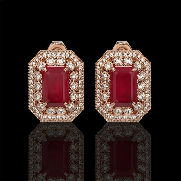 13.75 ctw Certified Ruby & Diamond Victorian Earrings 14K Rose Gold - REF-266R4K