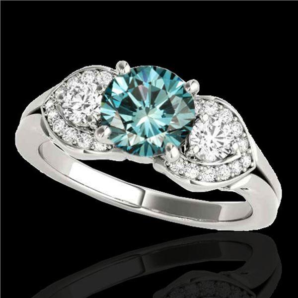 1.45 ctw SI Certified Fancy Blue Diamond 3 Stone Ring 10k White Gold - REF-150N2F