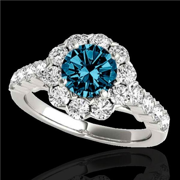 3 ctw SI Certified Fancy Blue Diamond Solitaire Halo Ring 10k White Gold - REF-222H8R