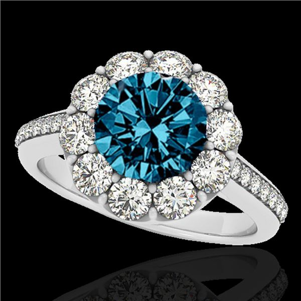 2 ctw SI Certified Fancy Blue Diamond Solitaire Halo Ring 10k White Gold - REF-149K6Y