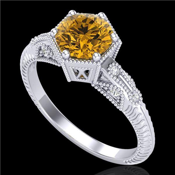 1.17 ctw Intense Fancy Yellow Diamond Art Deco Ring 18k White Gold - REF-180H2R