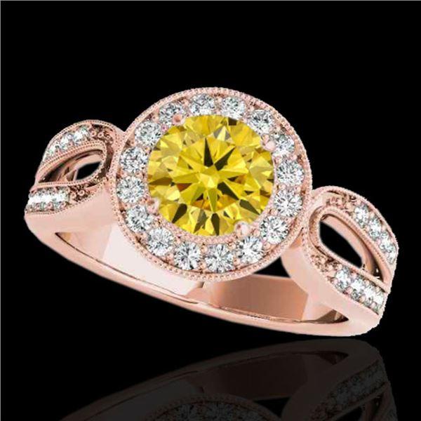 1.4 ctw Certified SI/I Fancy Intense Yellow Diamond Ring 10k Rose Gold - REF-204X5A