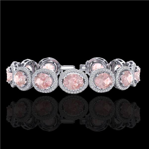 23 ctw Morganite & Micro Pave VS/SI Diamond Bracelet 10k White Gold - REF-527H3R