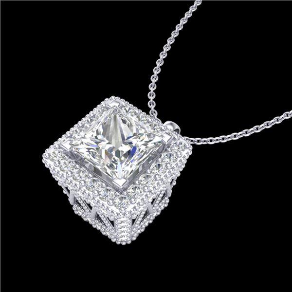 1.93 ctw Princess VS/SI Diamond Micro Pave Necklace 18k White Gold - REF-436H4R
