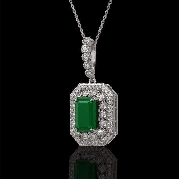 7.18 ctw Certified Emerald & Diamond Victorian Necklace 14K White Gold - REF-172F8M