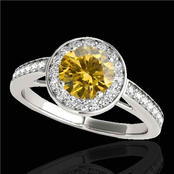 1.45 ctw Certified SI/I Fancy Intense Yellow Diamond Ring 10k White Gold - REF-163Y6X