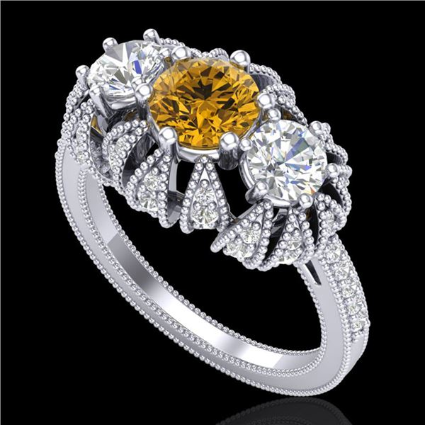 2.26 ctw Intense Fancy Yellow Diamond Art Deco Ring 18k White Gold - REF-345X5A