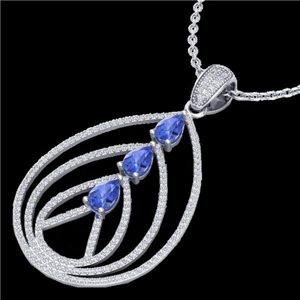 2 ctw Tanzanite & Micro VS/SI Diamond Designer Necklace 18k White Gold - REF-163W6H